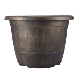 FANTASTIC :) 14-INCH Round Shape Finish Decorative Thin Plastic Planters, Antique Barrel Brushed Finish