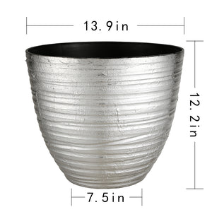 FANTASTIC :) 14-INCH Round Shape Decorative Plastic Planters,  Wrinkle Shiny Finish