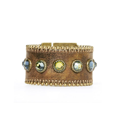 Metallic Leather & Crystal Cuff Bracelet
