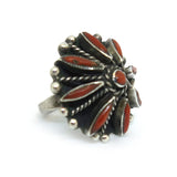 Coral Sunburst Zuni Ring