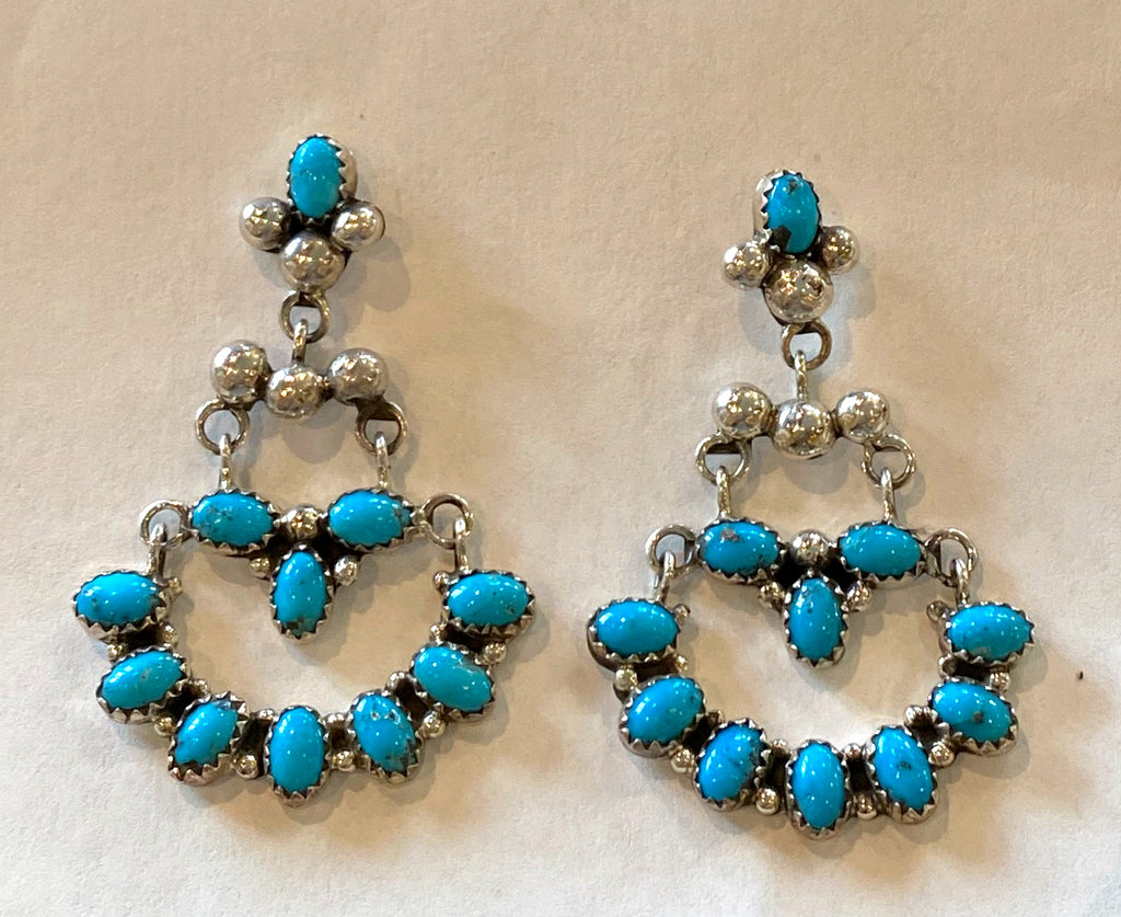 "2"" Sterling and Turquoise Fan Chandelier Earrings, marked ""AS"""