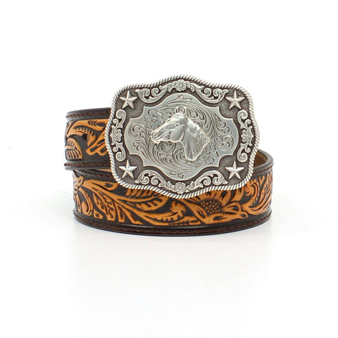 Tooled leather belt, horse buckle