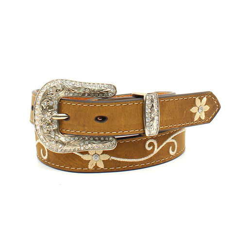 Embroidered Leather Belt, girls