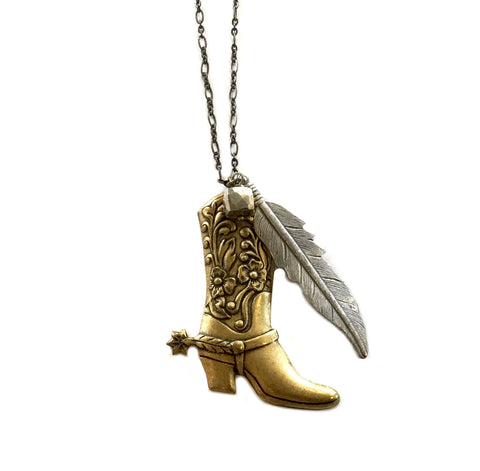 Boot and Feather charm necklace
