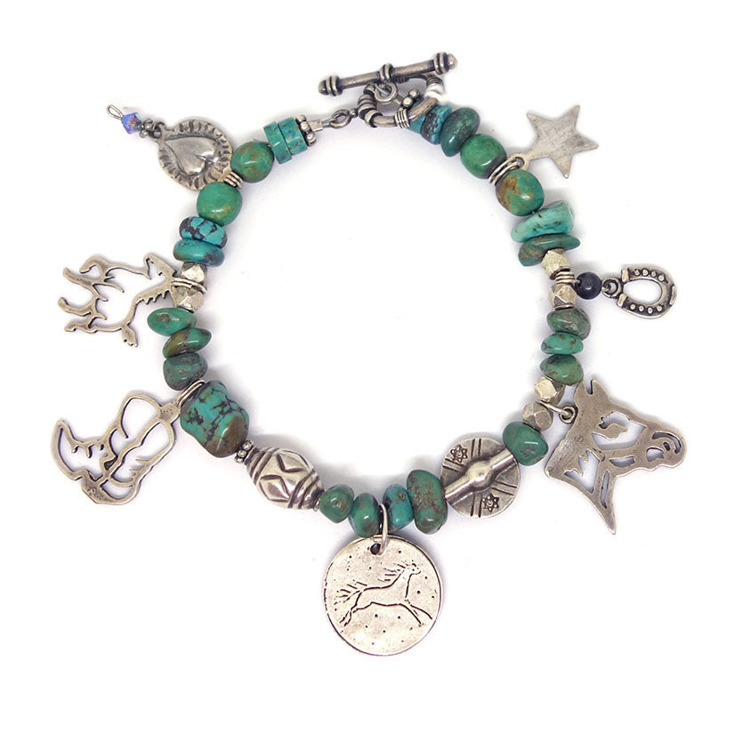Turquoise Bracelet, silver charms