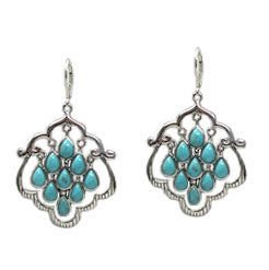 Turquoise 9 stone chandelier earrings