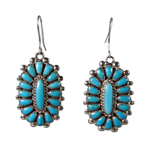 Turquoise Oval Earrings, L Waatsa