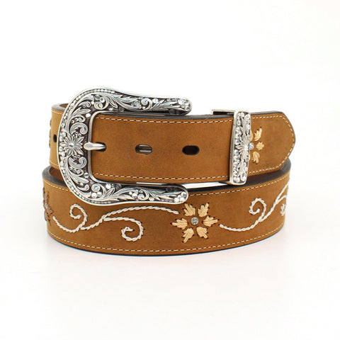 Embroidered Leather Belt, Ladies