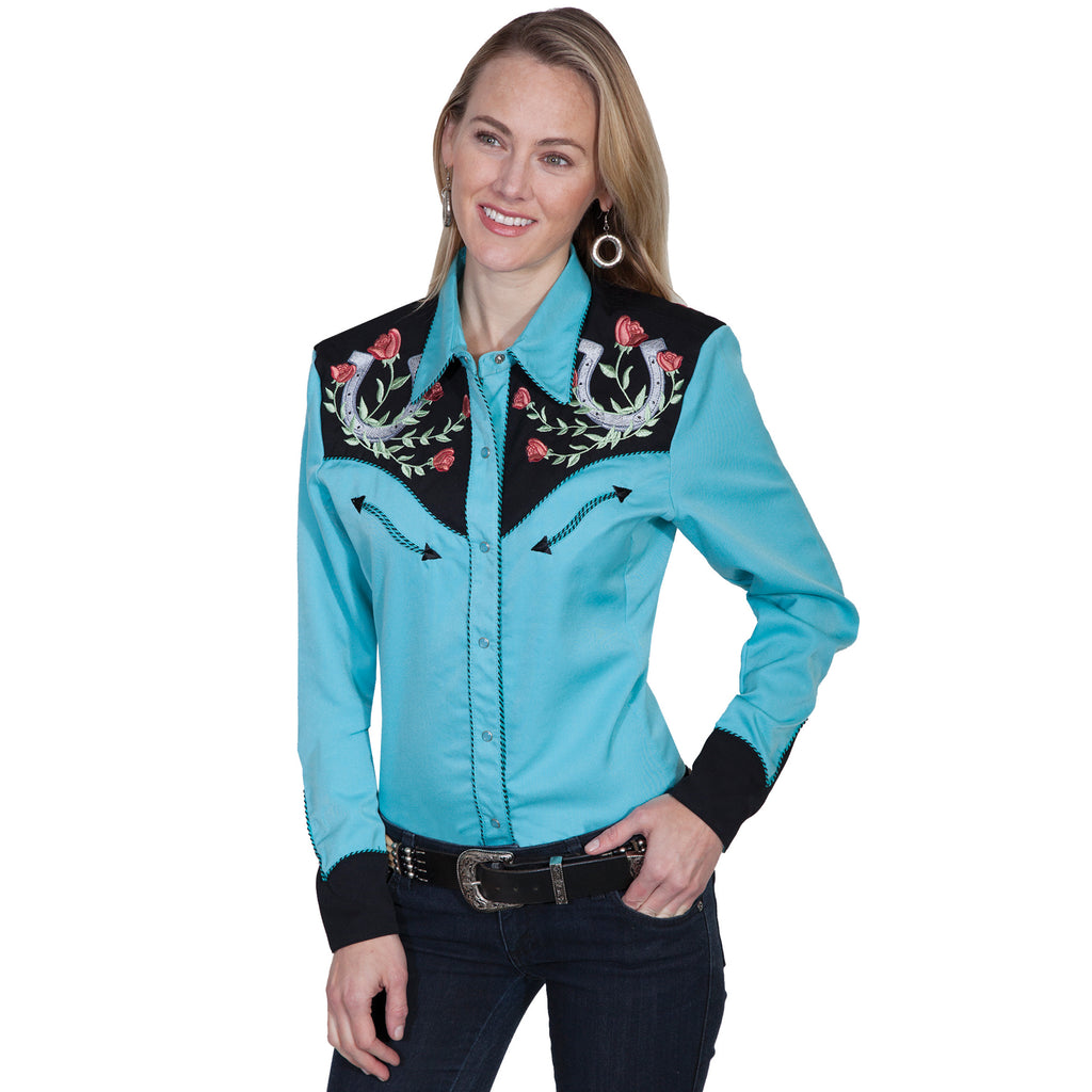 Turquoise and Roses Western Shirt