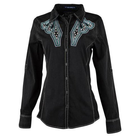 Black Embroidered Western Shirt
