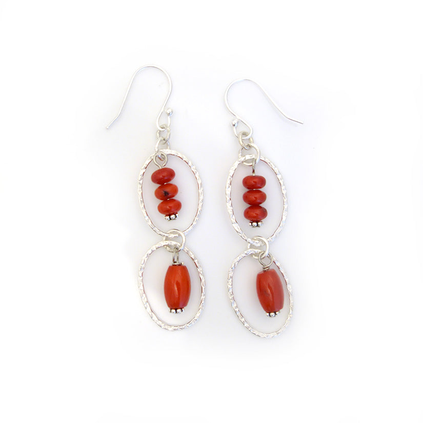 Coral Beads in Silver Link Earrings