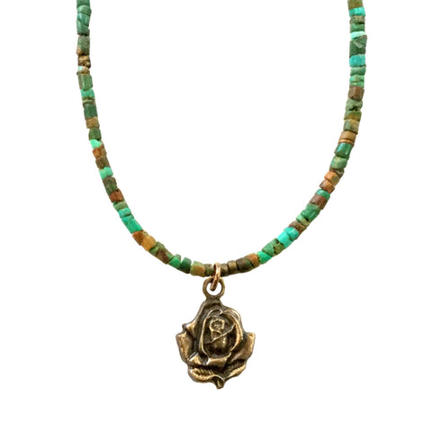 Bronze Rose on Turquoise Necklace