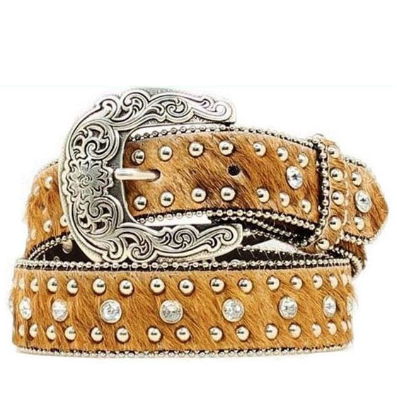 Natural Hide Studded Belt, girls