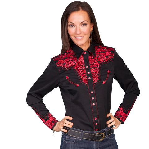 Black and Red Embroidered Shirt, XS only