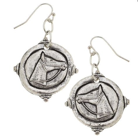 Horse Intaglio Earrings, wire