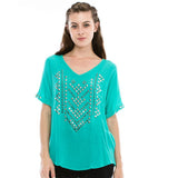 Southwest Studded Top teal