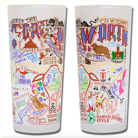 Fort Worth Frosted Glass Tumbler