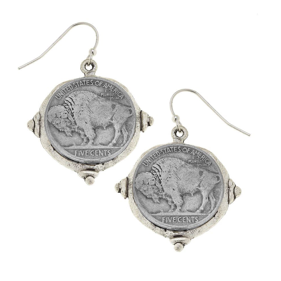 Buffalo Nickel Earrings, hook