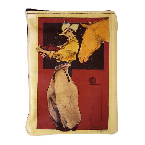 """Apples For The Yellow Mare"" leather purse"