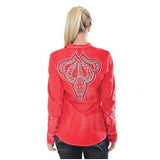 Red Embroidered Western Shirt