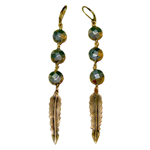 Bronze Feather Pyrite Earrings