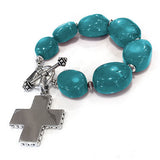 Turquoise Nugget Bracelet with silver cross