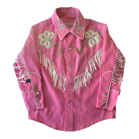 Kids Embroidered Western Shirt with Fringe