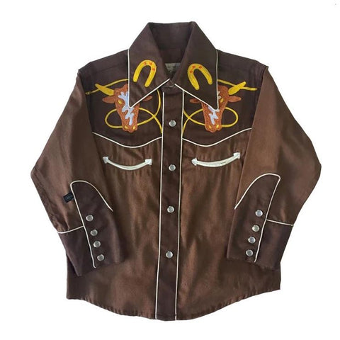 Kids Embroidered Two-Tone Steer Shirt
