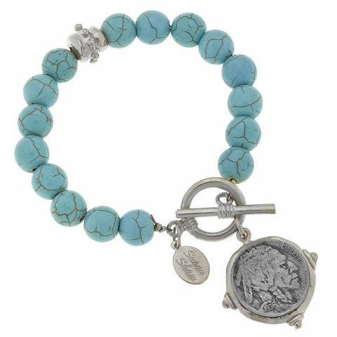 Buffalo Nickel and Turquoise Bracelet