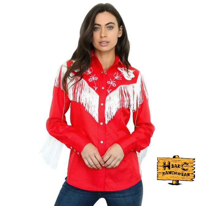 The Taos Shirt with fringe, Red