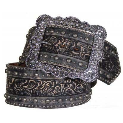 Wide Tooled Leather Belt