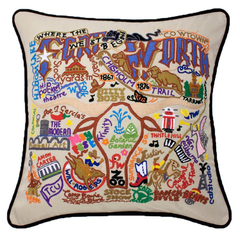 Embroidered GIANT Pillow - Fort Worth
