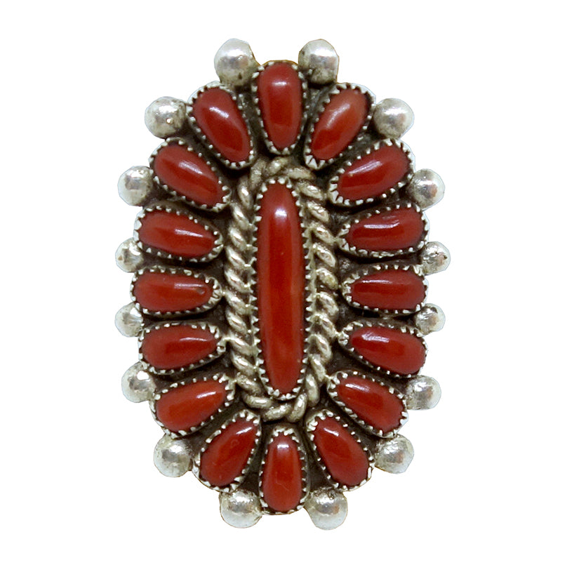 Coral Cluster Oval Ring, Zuni