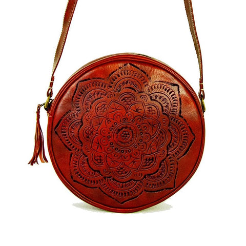 Hat-Bag, round leather purse