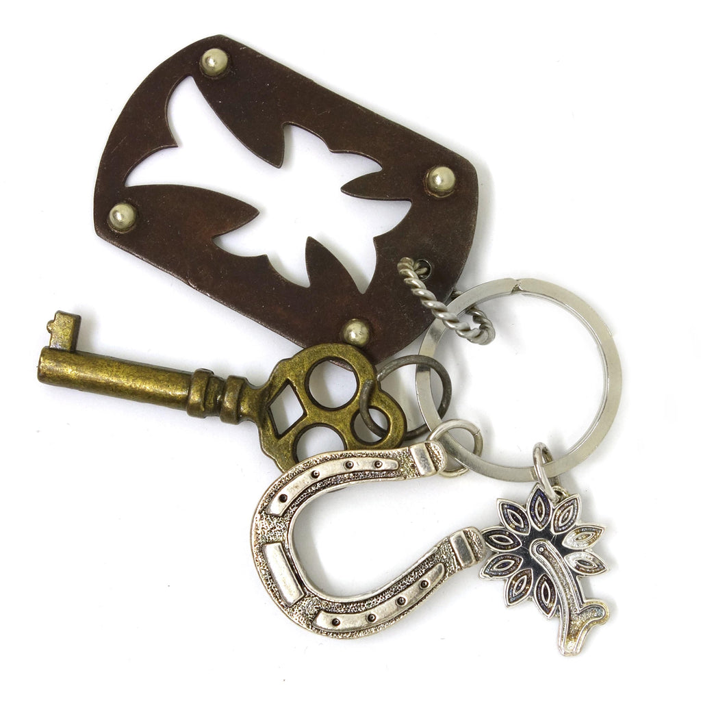 Desert Rose & Open Cross Key Ring