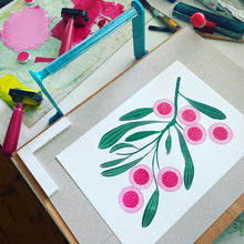 Load image into Gallery viewer, Australian native flower linoprint, Hakea Laurina artwork, handmade in Sydney