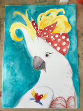 Load image into Gallery viewer, Rockabilly Cockatoo - Original watercolour painting - #artistsupportpledge campaign