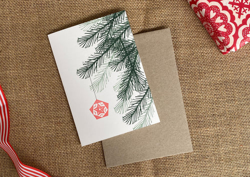 Hand printed Christmas Card, Christmas Tree and Ornament Card, Handmade in Sydney