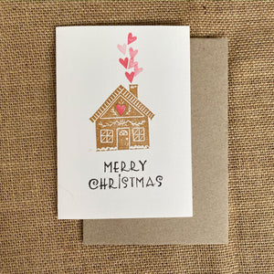 Hand printed gingerbread house Christmas card and envelope