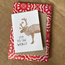 Load image into Gallery viewer, Hand printed Reindeer Card, Linoprinted Christmas Card