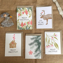 Load image into Gallery viewer, A set of 5 hand printed Christmas cards with a mix of designs