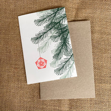 Load image into Gallery viewer, Hand printed Christmas Tree Branch and Ornament Greeting Card and envelope.
