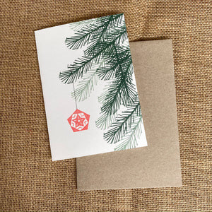Hand printed Christmas Tree Branch and Ornament Greeting Card and envelope.