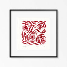 Load image into Gallery viewer, Red Gum Linoprint, Australian native flower artwork, Limited Edition Linoprint