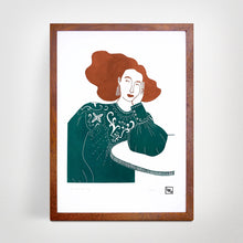 Load image into Gallery viewer, 'All dressed up' Linoprint, original artwork, handmade in Sydney