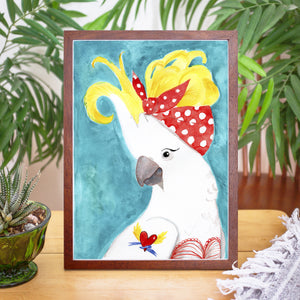 Rockabilly Cockatoo - Original watercolour painting - #artistsupportpledge campaign