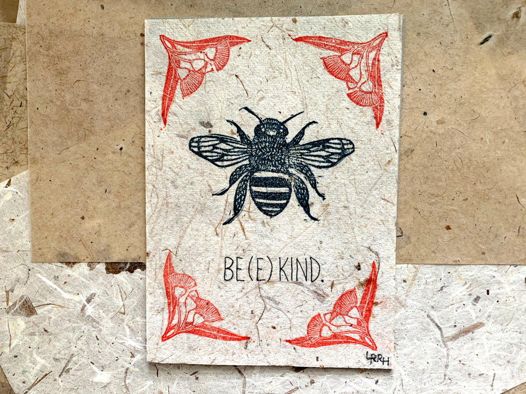 Bee Kind Linoprint