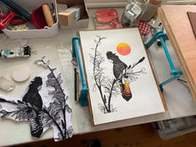Load image into Gallery viewer, Black Cockatoo, Red Sun Linoprint, original artwork, handmade in Sydney