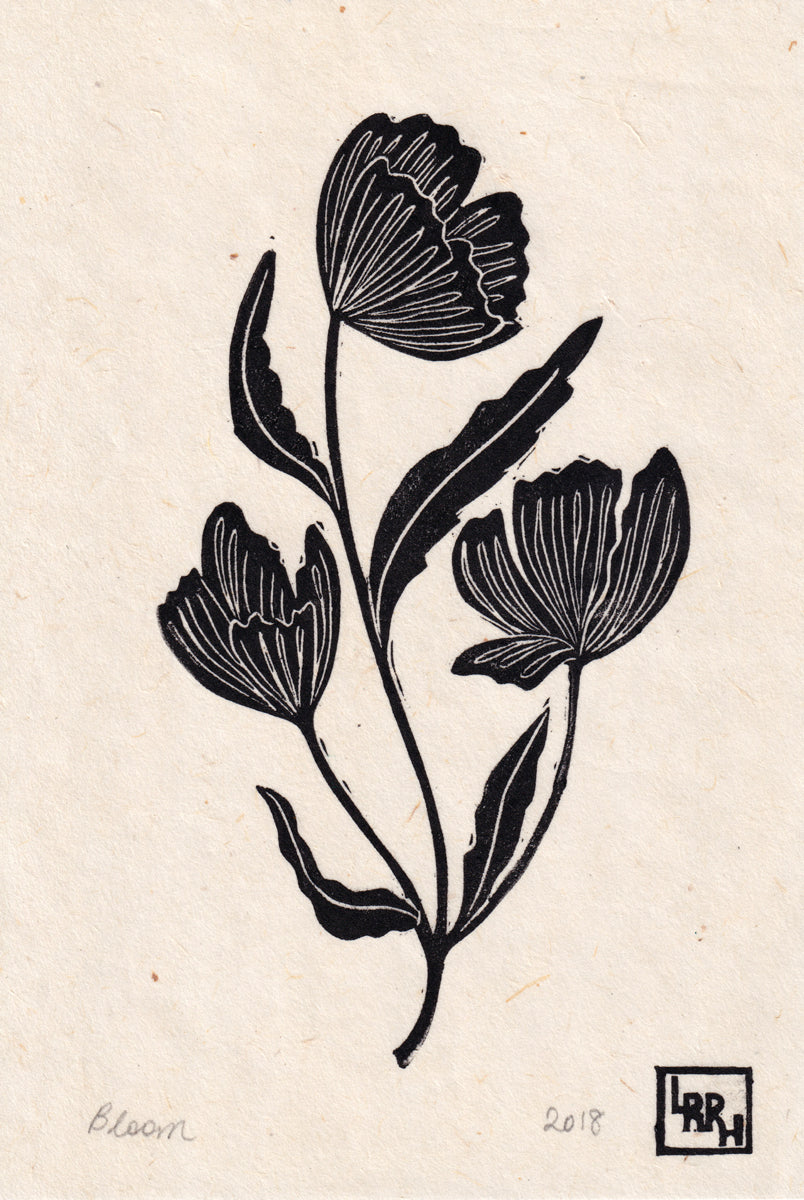 Bloom Linoprint, original artwork, handmade in Sydney