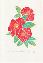 Load image into Gallery viewer, Camellia Japonica Linoprint, original art